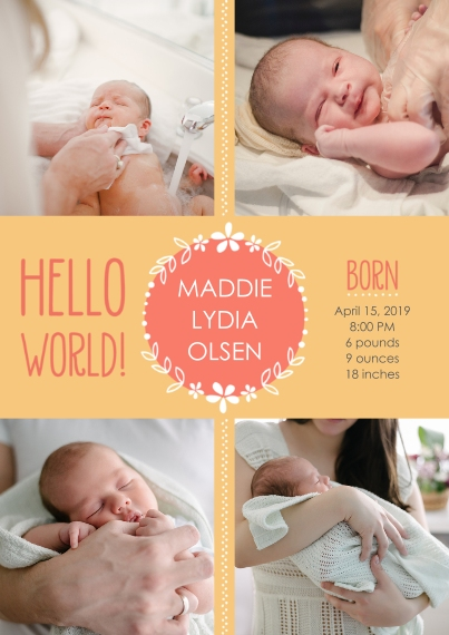Newborn 5x7 Cards, Standard Cardstock 85lb, Card & Stationery -Hello World! Baby Announcement Girl by Well Wishes