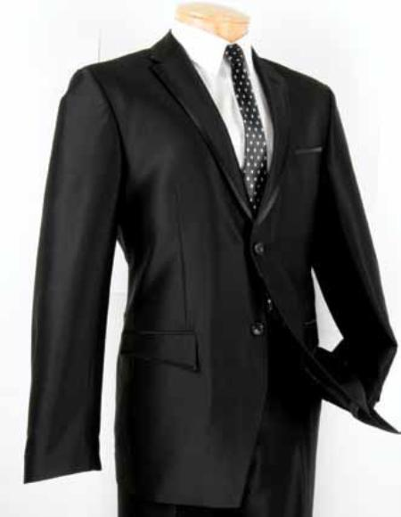 Mens Suit Single Breasted 2Button Shark Skin Finish Lapel in Black