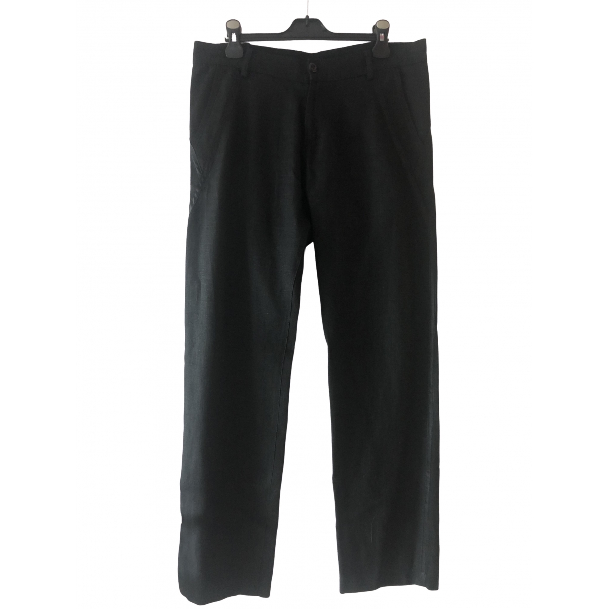 Versace Jeans \N Black Linen Trousers for Women 48 IT