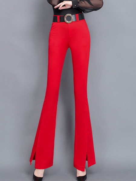 Milanoo Pants Red Split Front Natural Waist Trousers