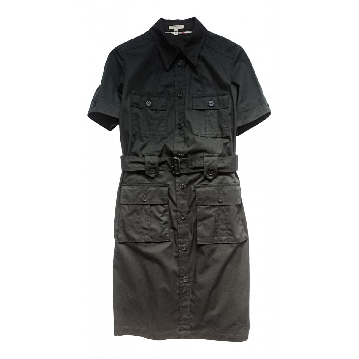 Burberry \N Black Cotton - elasthane dress for Women 16 UK