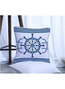 Boat Wheel with Stripes Pattern Polyester One Piece Decorative Square Throw Pillowcase