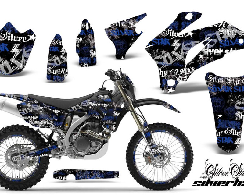 AMR Racing Graphics MX-NP-YAM-WR250F-07-14-WR450F-07-11-SSSH U K Kit Decal Wrap + # Plates For Yamaha WR250F 2007-2014 WR450F 2007-2011áSSSH BLUE BLAC