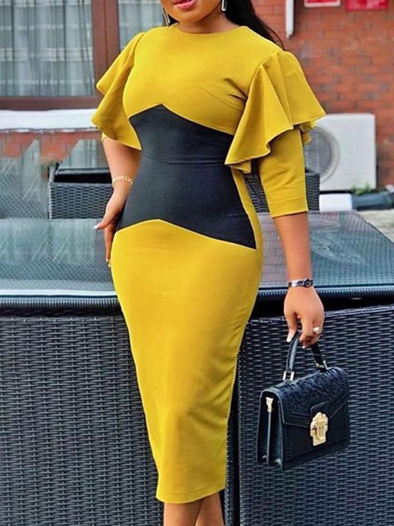 Ericdress Mid-Calf Round Neck Three-Quarter Sleeve Fashion Mid Waist Dress