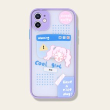 1pc Cartoon Graphic Contrast Frame iPhone Case
