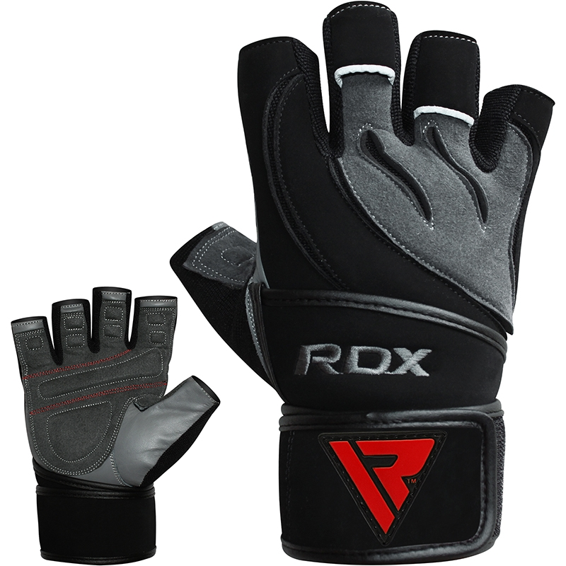 RDX L4 Deepoq Gym Gloves Short Finger Cowhide Leather Small Grey/Black/Red