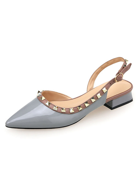 Milanoo Women Mid-Low Heels Slingbacks Flat Shoes With Rivets In Black