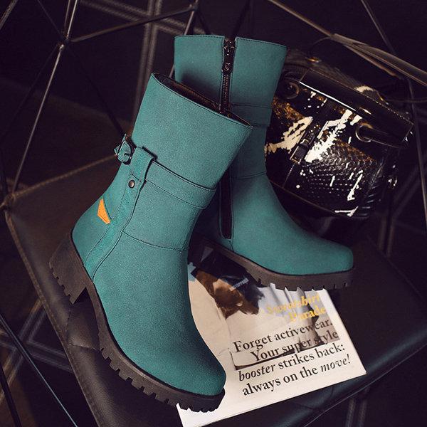 Big Size Buckle Button Zipper Mid Calf Metal Square Heel Winter Boots