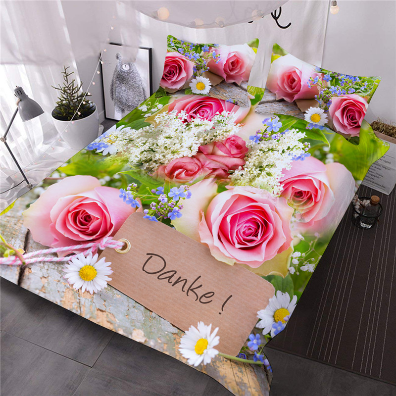 Pink Roses and Green Leaves 3Pcs Microfiber No-Fading Comforter Set 3D Floral Comforter with 2 Pillow Covers