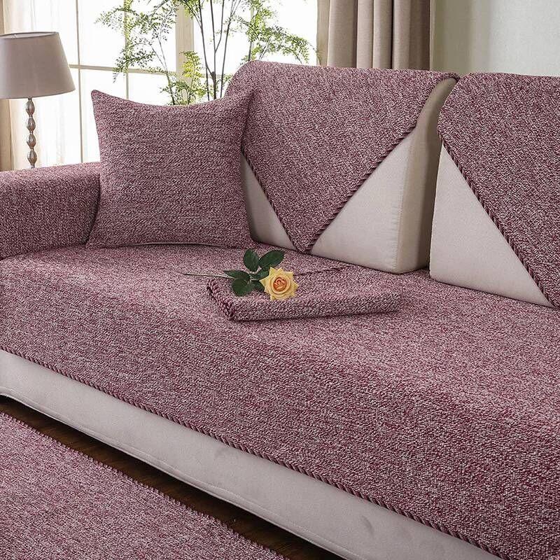 Cotton Simple Style Anti-Slip Machine Washable Sofa Covers