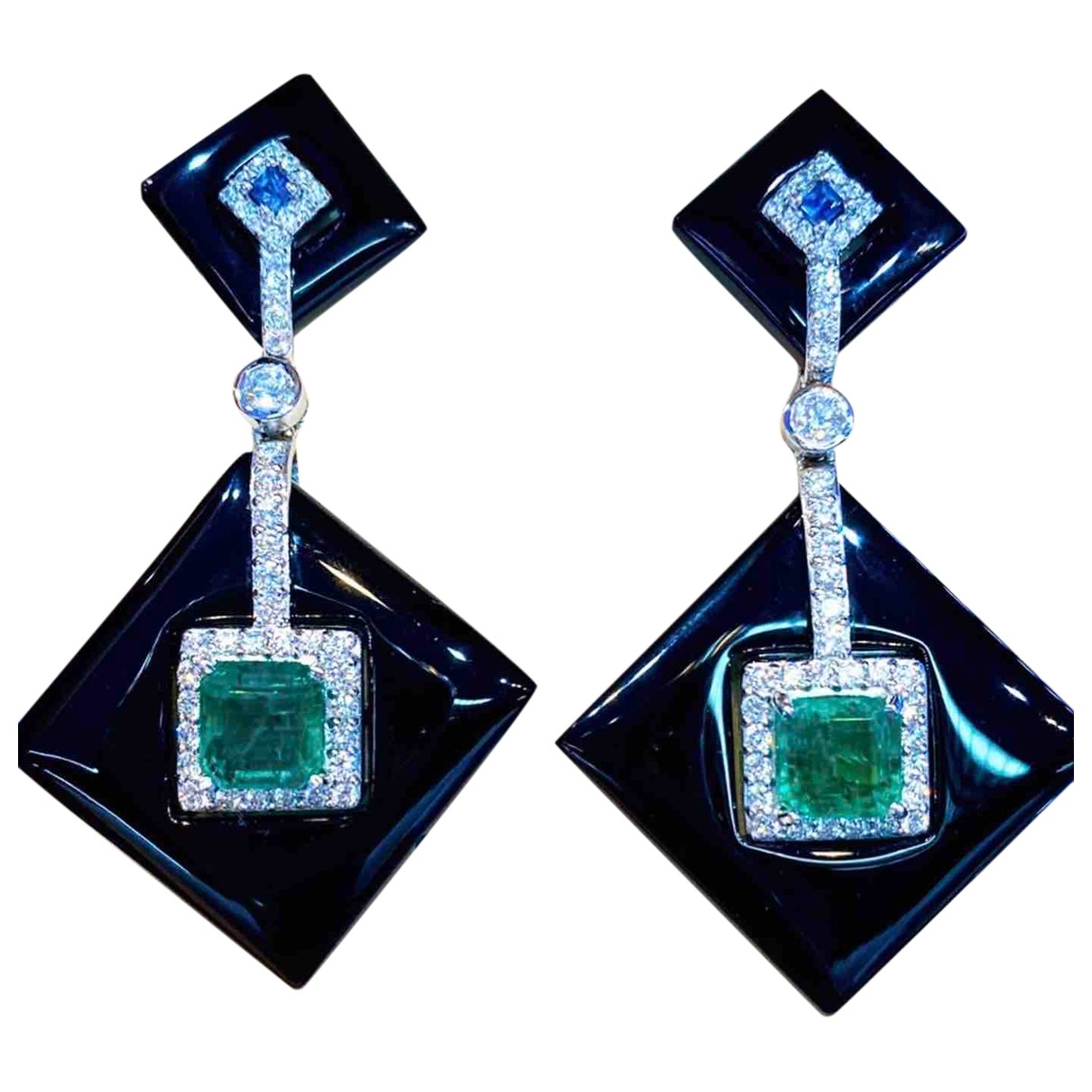 Non Signé / Unsigned Emeraude Silver White gold Earrings for Women \N