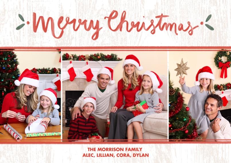 Christmas Photo Cards Flat Glossy Photo Paper Cards with Envelopes, 5x7, Card & Stationery -Wintery Wood Christmas Collage