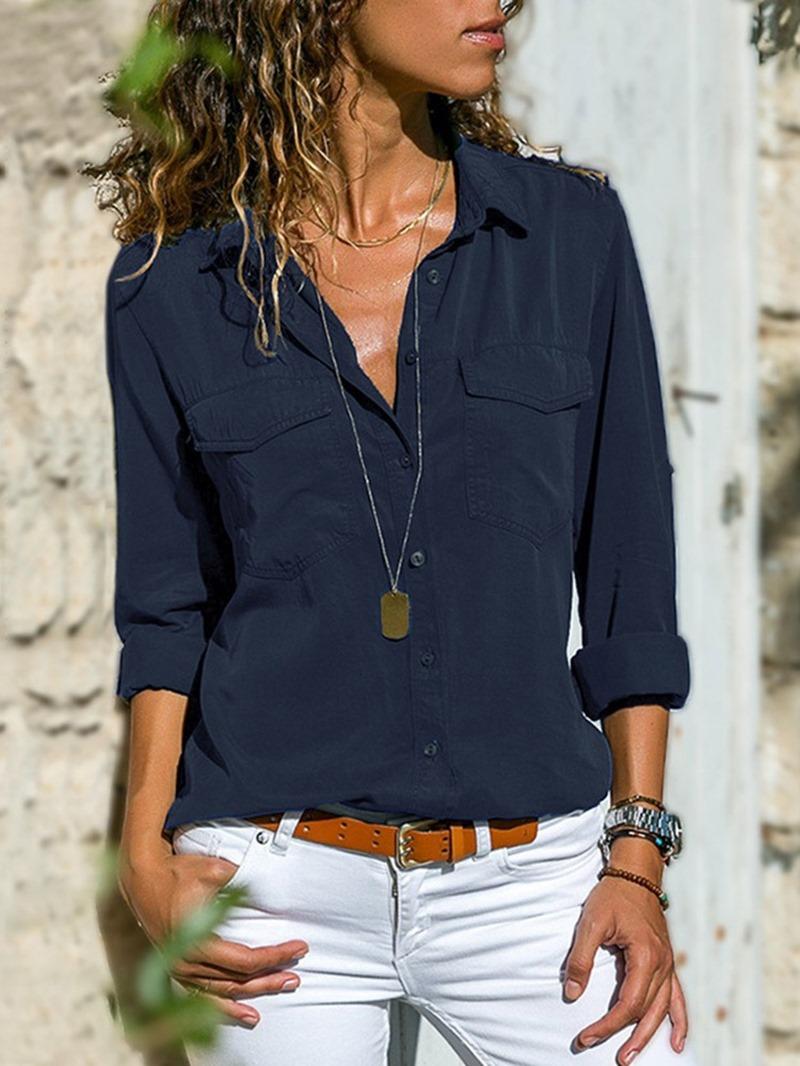 Ericdress Plain Pocket Standard Long Sleeve Blouse