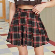 Tartan Pleated Mini Skirt