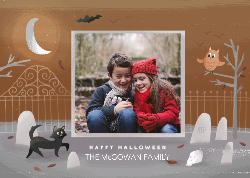 Halloween Photo Cards 5x7 Cards, Premium Cardstock 120lb, Card & Stationery -Graveyard Greetings