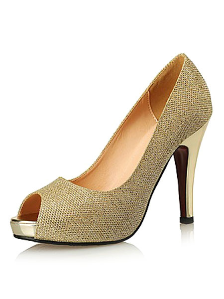 Milanoo Gold High Heels Glitter Peep Toe Women's Stiletto Slip On Pump Shoes