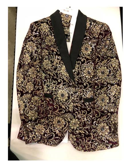 Mens Floral Pattern Maroon ~ Gold Double Breasted Blazer