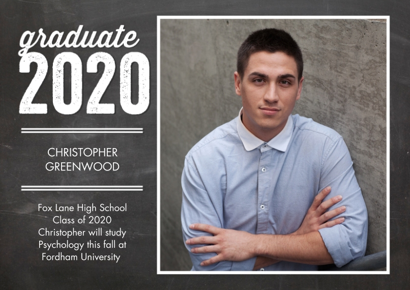 2020 Graduation Announcements 5x7 Cards, Standard Cardstock 85lb, Card & Stationery -Graduate 2020 Modern by Tumbalina