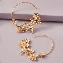 1pair Metallic Flower & Leaf Decor Hoop Earrings