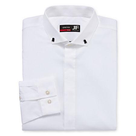 JF J.Ferrar Easy Care Mens Point Collar Long Sleeve Stretch Dress Shirt, 18-18.5 34-35, White