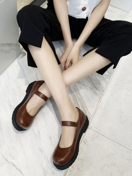 Milanoo Lolita Footwear Coffee Brown Round Toe PU Leather Lolita Pumps