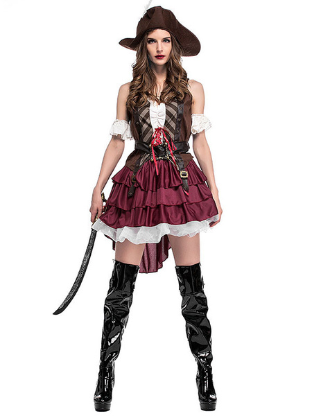 Milanoo Halloween Costume Pirate Costumes Women\'s Coffee Brown Hat Overskirt Top Holidays Costumes