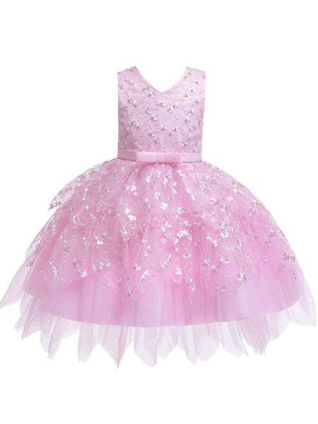 Milanoo Flower Girl Dresses V Neck Tulle Sleeveless Knee Length Princess Silhouette Flowers Kids Social Party Dresses