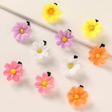 10pcs Toddler Girls Flower Decor Hair Clip