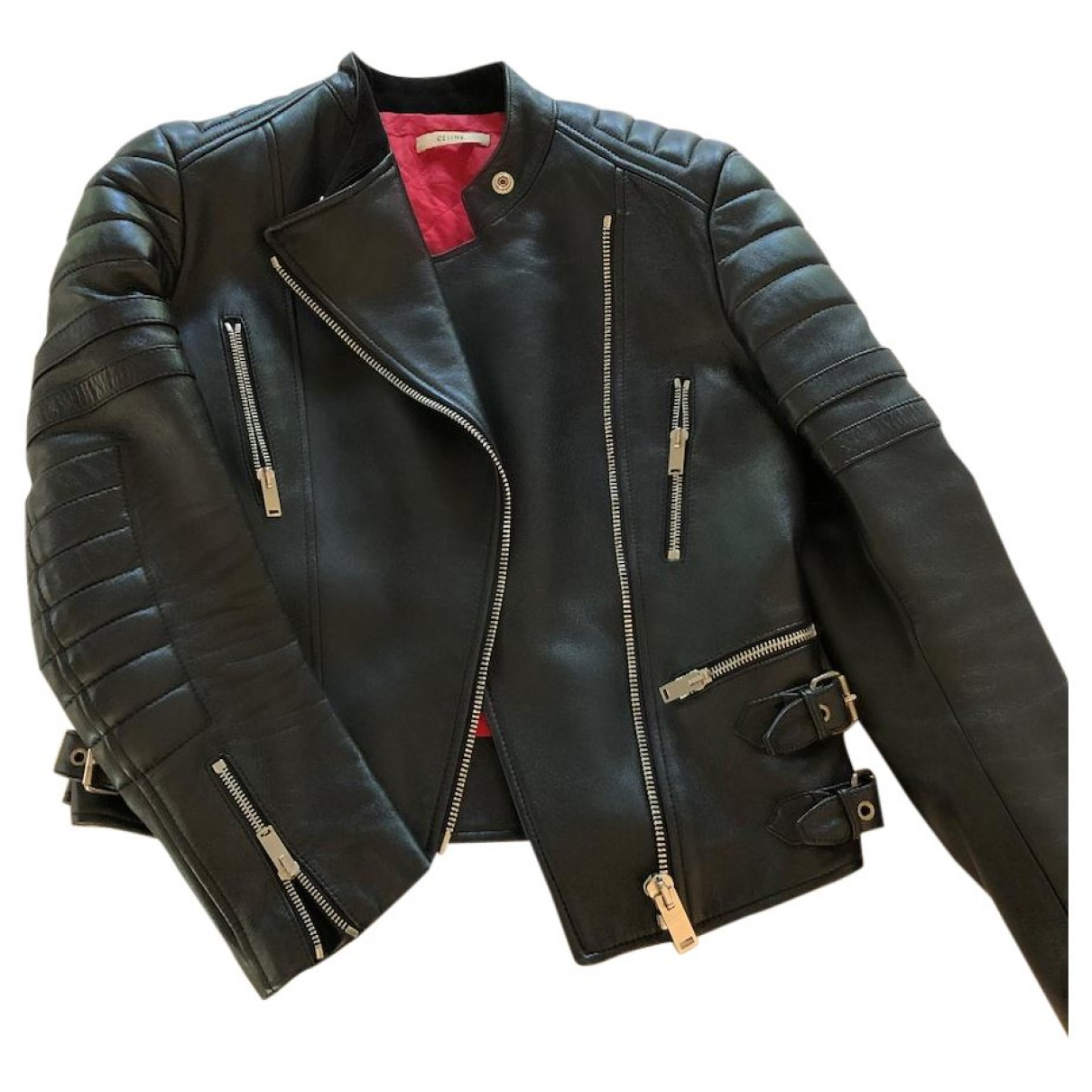 Celine \N Black Leather Leather jacket for Women 38 IT