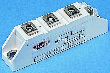 Semikron , SKKT 72B12 E, Dual Thyristor Module SCR, 70A 1200V, 7-Pin Semipack1