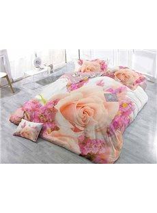 Romantic Pink Rose Wear-resistant Breathable High Quality 60s Cotton 4-Piece 3D Bedding Sets