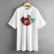 Drop Shoulder Butterfly & Figure Graphic Tee Dress