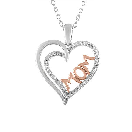 Womens Genuine Diamond Accent Sterling Silver Heart Pendant, One Size , No Color Family