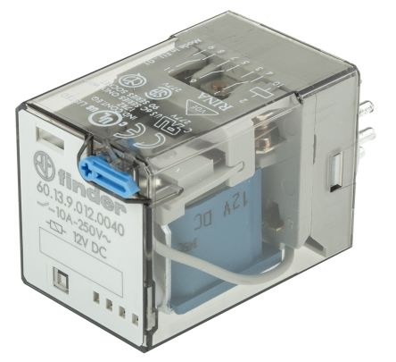 Finder , 12V dc Coil Non-Latching Relay 3PDT, 10A Switching Current Plug In