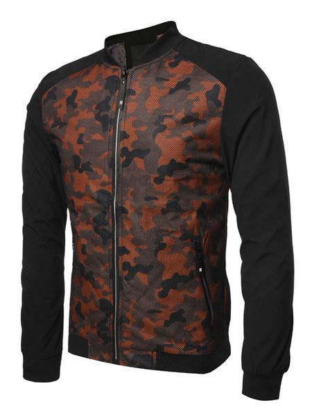 Milanoo Men Bomber Jacket Camo Print Spring Jacket Stand Collar Zipper Casual Outwear