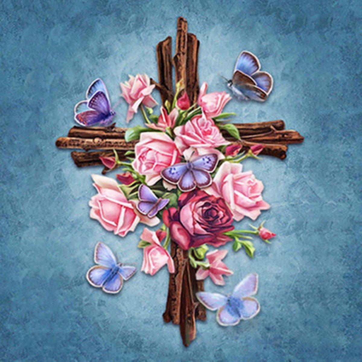 Religious Cross Diamond Embroidery 5D Diamond DIY Painting Cross Stitch Living Room Home Decor