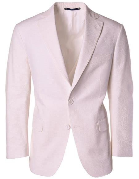 Mens Single Breasted Notch Label White Classic Fit