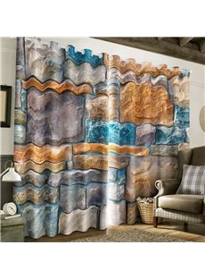 3D Sketch Stones Printed Thick Polyester 2 Panels Bedroom Blackout Window Drape