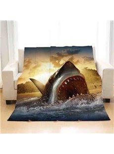 Sharks In The Golden Sun Flannel Bed Blanket Reactive Printing Polyester Blanket