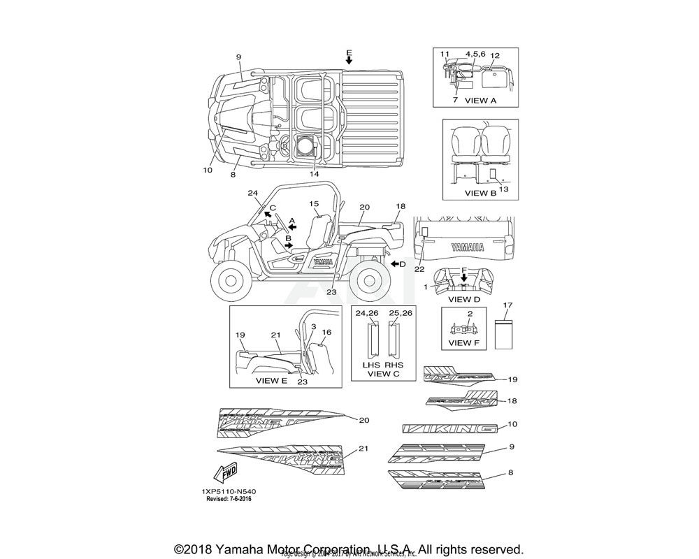 Yamaha OEM 1XD-F151K-00-00 LABEL 7 | ENGLISH