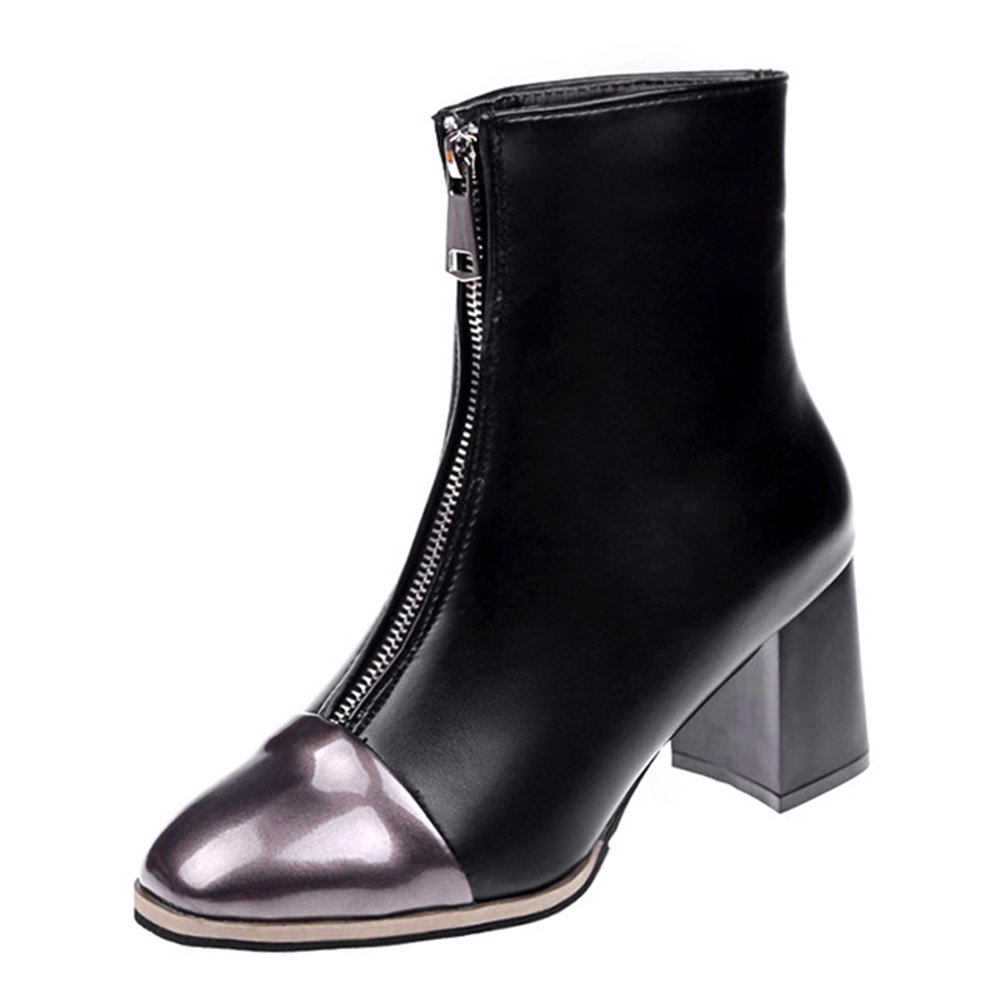 British Style Round Toe High Heel Zipper Fur Lined Comfortable Ankle Boots