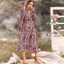 Floral Print Notch Collar Ruffle Dress