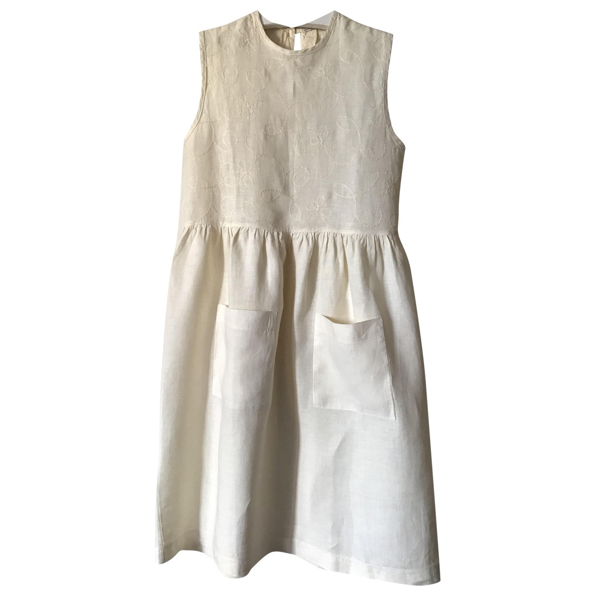 Non Signé / Unsigned \N Ecru Linen dress for Kids 12 years - XS FR