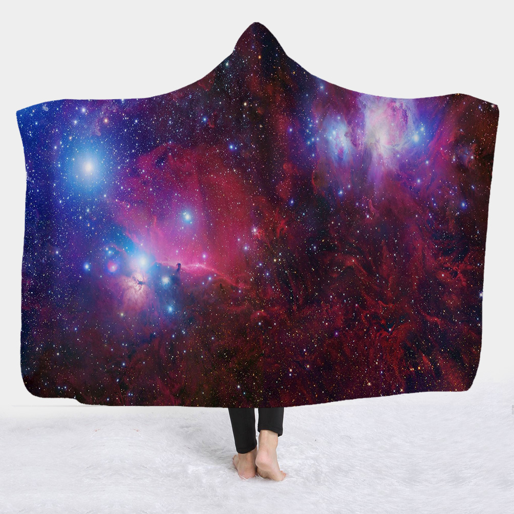 Red Starry Galaxy Printed Wearable 3D Hooded Blanket