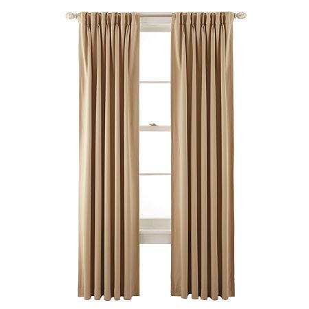 Liz Claiborne Kathryn Room-Darkening Pinch-Pleat/Back-Tab Curtain Panel, One Size , Yellow