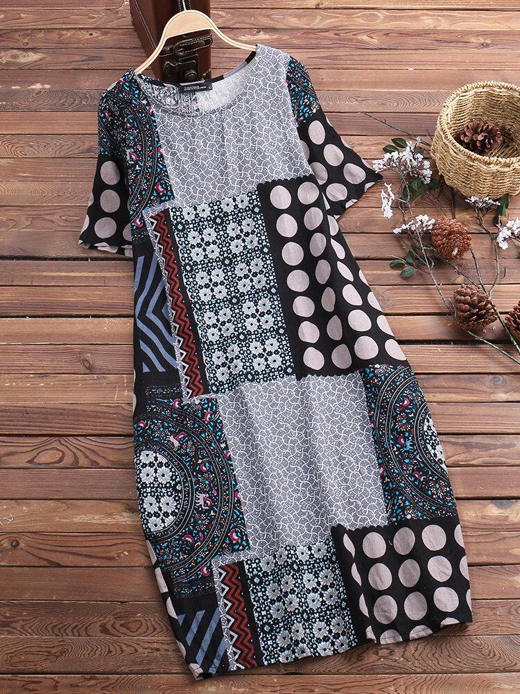 Vintage Printed Short Sleeve Pocket Dress for Women