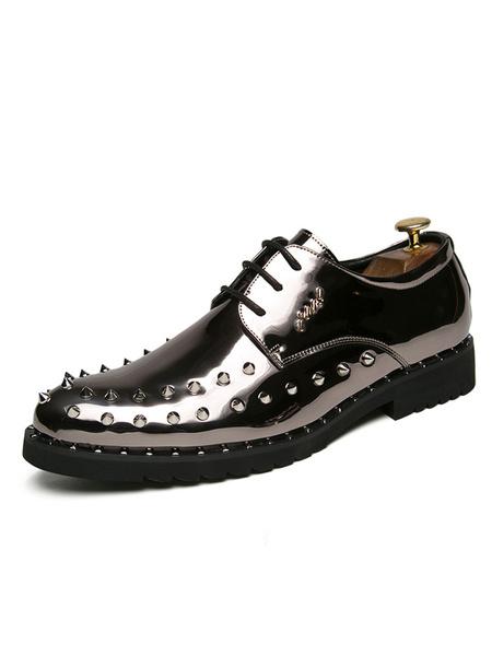 Milanoo Men Dress Shoes Metallic Round Toe Rivets Lace Up Casual Business Shoes