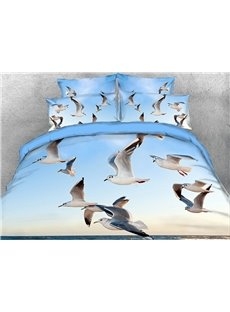 Vivilinen 3D Seagulls Flying over Ocean Cotton 4-Piece Bedding Sets/Duvet Covers