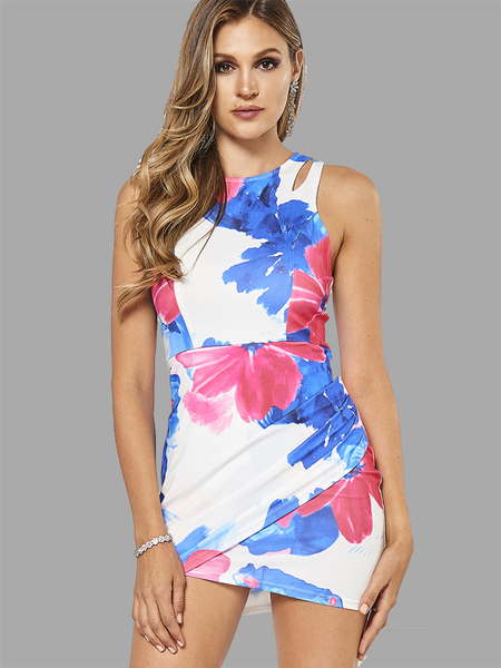 Yoins Random Floral Print Sleeveless Mini Dress with Zip Back Fastening