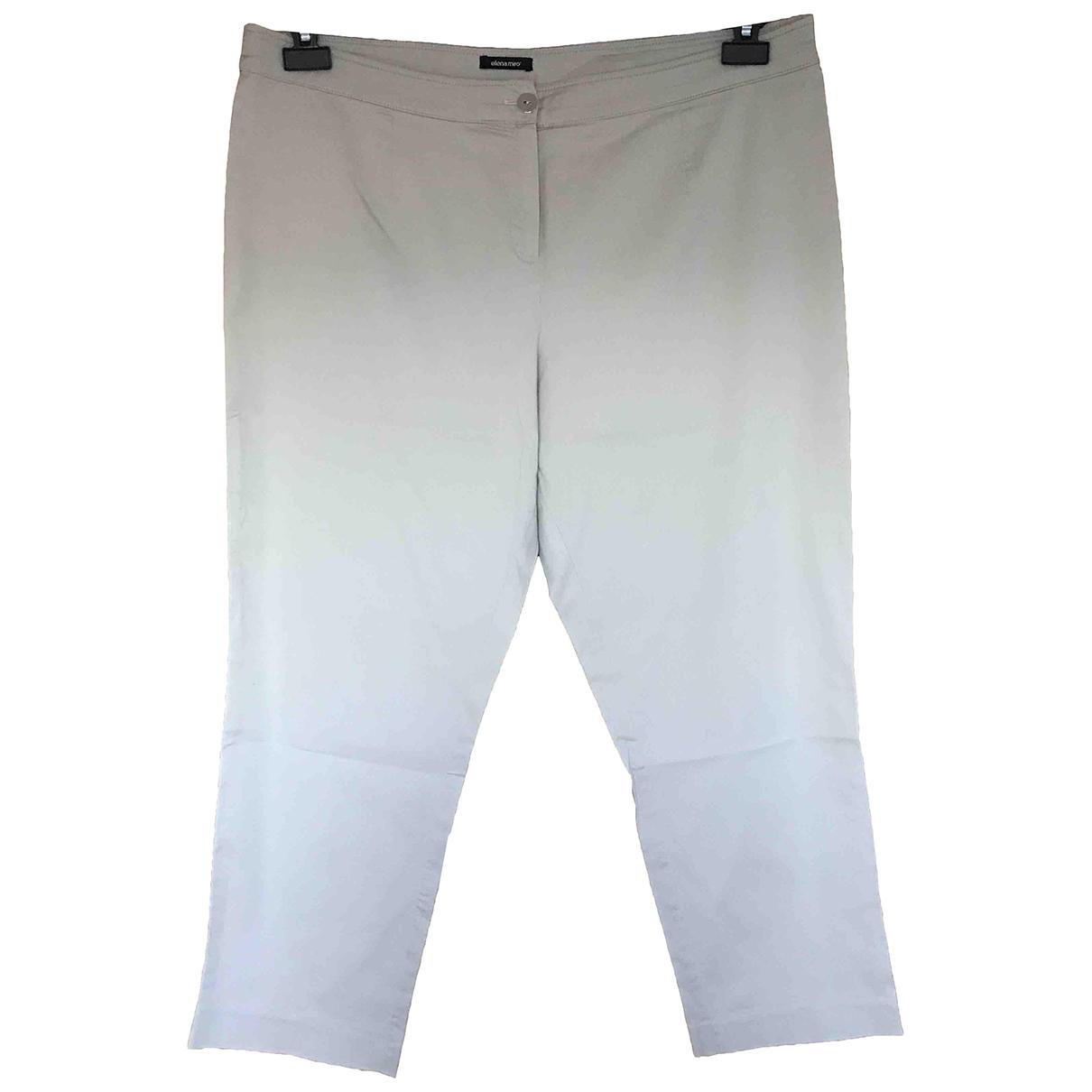 Elena Miro \N Beige Cotton Trousers for Women 46 IT